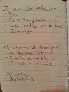 A recent entry, right out of my gratitude journal.