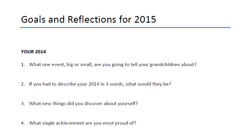 Goals and Reflections for 2015